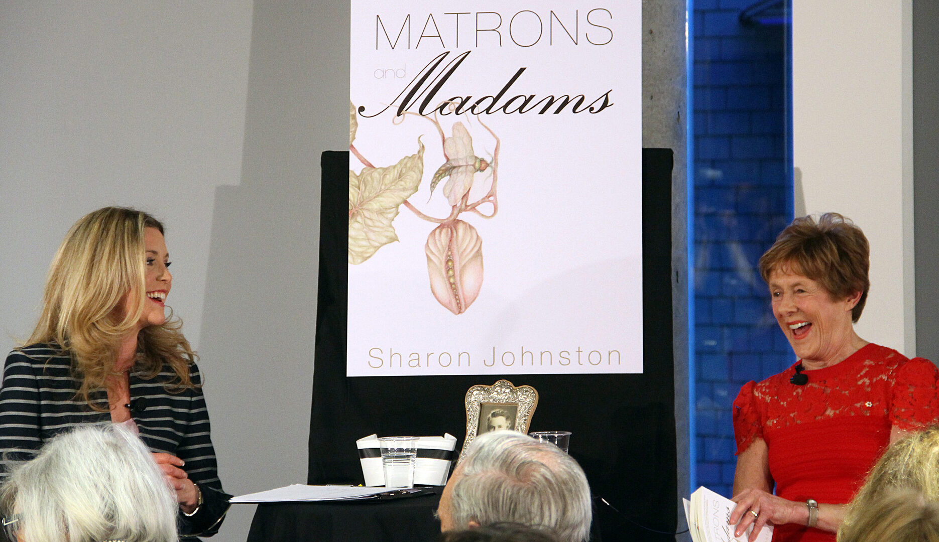 From left, moderator Catherine Clark with Sharon Johnston, wife of Gov. Gen. David Johnston, at a book launch for Johnston's new historical fiction novel, Matrons and Madams, held Tuesday, April 14, 2015, at the new Canada Council for the Arts headquarters on Elgin Street. (Caroline Phillips / Ottawa Citizen)